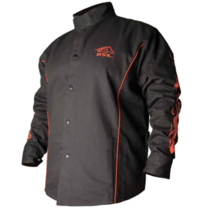 BSX BX9C Black Red Flames Cotton Welding Jacket (2)